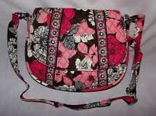 VERA BRADLEY SADDLE UP CROSSBODY HANDBAG UPDATED MOCHA ROUGE RETIRED EXCELLENT