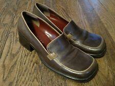 Nine West Brown Leather Upper Block Heel Pumps Size 6 M