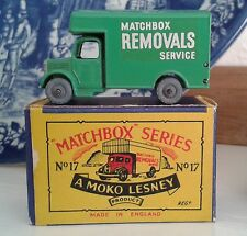 VINTAGE MATCHBOX REMOVALS VAN No 17 & BOX MOKO LESNEY BEDFORD LORRY