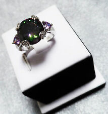 Women's Sterling Silver Simulated Green & Lavender Mystic Topaz Ring Size 7.5