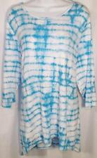 NEW DIRECTIONS WOMEN PLUS SIZE 3X LONG WHITE BLUE OMBRE 3/4 SLEEVE TOP SHIRT NEW