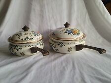 German Vintage Asta enamel cookware set of 2 pots brass knob handles lids