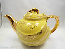 Vintage Hall China 6 cup Teapot Yellow Parade with Gold details, blue stamp