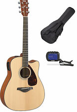 Yamaha FGX800C Acoustic-Electric Folk Guitar + Softshell Case + Clipon Tuner