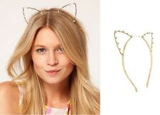 Party Hair Accessories Cat Ear Gold Crystal Rhinestone Head Band Hair Cuff