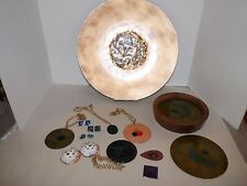 14 pc Mid Century Modern Eames Era BOVANO Enameled Plate Charger Jewelry Trivet