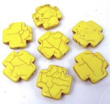 25mm Yellow Turquoise Cross Beads (7 pcs)