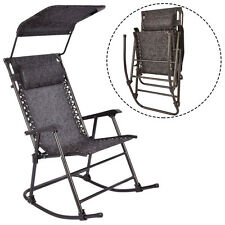 Folding Rocking Chair Porch Patio Indoor Rocker With Canopy & Headrest
