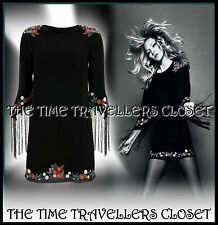 KATE MOSS TOPSHOP BLACK EMBROIDERED FLORAL DRESS FRINGED TASSLED SLEEVES 8 10 12
