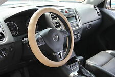 Solid Tan Slip-On Style Steering Wheel Cover Perfect Fit Comfortable Handling