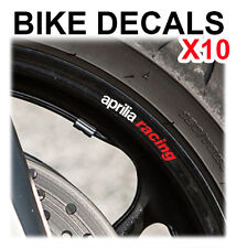 10X APRILIA RACING MOTORCYCLE BIKE WHEEL STICKERS DECALS TAPE RIMS