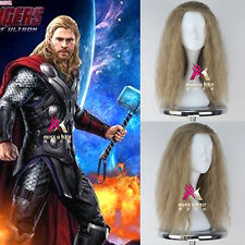 Avengers Thor Wig Men's Long Curly Ash Blonde Movie Cosplay Wig Free cap