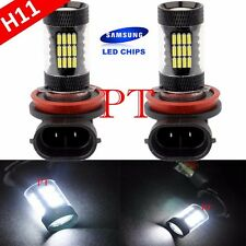 H11 Samsung LED 57-SMD Super White 6000K Headlight Xenon Light Bulbs Low Beam