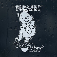 Please Back Off Vinnie Pooh Car Decal Vinyl Sticker For Window Bumper Panel