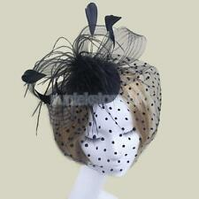 Feather Bird Cage Net Bridal Face Veil Fascinator Hair Clip Accessory Black