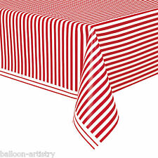 "54""x108"" RED White Stripes Style Party Disposable Plastic Table Cover"