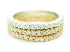 3 TRI TONE SILVER DIAMOND SET PAVE WHITE SAPPHIRE STACKABLE ETERNITY RING GIFT