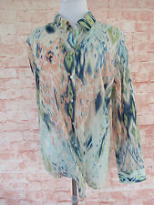 CHICO'S Women's Lightweight Button Front Blouse Top SIZE 2 Multi color Bright