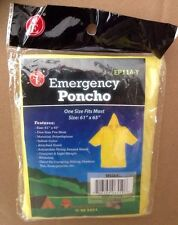 New Pack of 2 Emergency Rain Poncho Yellow Hood Reusable One Size Fits Most