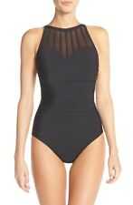 New MIRACLESUIT Magicsuit Anastasia Mesh Neck One Piece Swimsuit Navy Blue 12