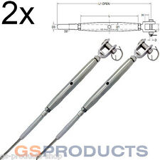 2x 6mm Stainless Steel Rigging Screw SWAGE and JAW Wire Rope Adjuster Balustrade