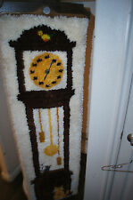 KNITTED GRANDFATHER CLOCK KNIT WALL CLOCK MID CENTURY CLOCK RARE CLOCK HANGING