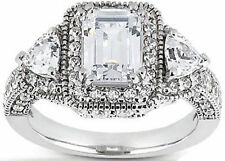 3.15 ct Total Emerald Round Triangle DIAMOND Halo Engagement 14k White Gold Ring