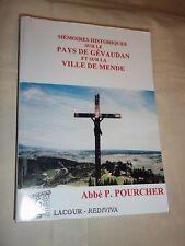 """""""MEMOIRES HISTORIQUES SUR LE PAYS DE GEVAUDAN ET MENDE """" ABBE POURCHER (2007)"""