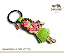NWT Coach Hawaiian Girl Key Chain Leather 93159 Hula Flower Fob Silver / Multi