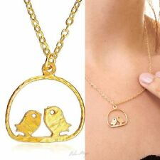 Gold Filled 14k Necklace Love Doves Pendant Designer Charm & Chain Lady Warranty