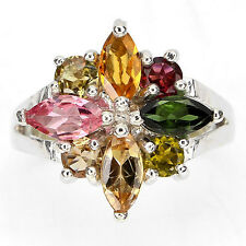 GENUINE NATURAL FANCY TOURMALINE 14k GOLD ON 925 STERLING SILVER FLOWER RING  6