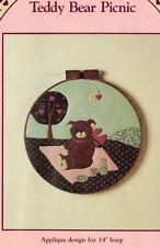 "1983 Prairie Farm Designs Craft Pattern ""Teddy Bear Picnic"" Applique for 14""Hoop"