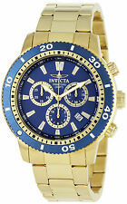 Reloj Invicta Goldplated Watch Hombre Barcelet Crystal Hand Steel Case Blue Face