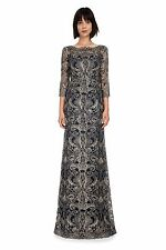 Tadashi Shoji Navy Gold 3/4 Sleeve Corded Metallic Lace Formal Gown Size 12 $548