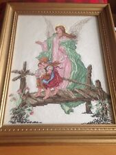 completed cross stitch gaurdian angel classic pic of angel protecting children