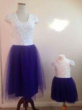 Mother And Daughter Matching Dress Set White & Blue Occasion outdoor NEW