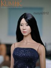 1/6 Kumik femal KM-13-23 black long  hair Head carving Sculpt for Action Figure