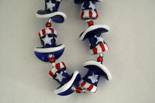 July 4th Patriotic Handmade Lampwork Uncle Sam Hat Glass Beads(6 Beads Pack)