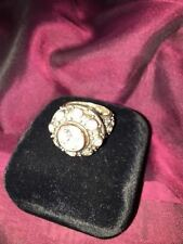 Oxydized Silver White Zircon and Gold Ring