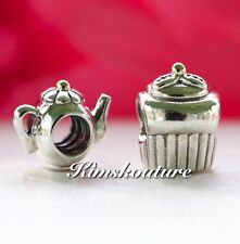 Authentic PANDORA Gift Set of 2 Charms Teapot 790250 and Cupcake Charm 790417