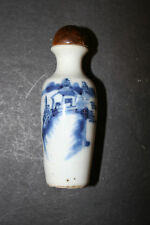 Old Chinese Blue White Porcelain Snuff Bottle House on Mountain Design Marked