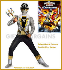 Power Rangers Megaforce Special Silver Ranger Warrior Muscle boys Costume 4-6yrs