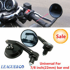 """PAIR MOTORCYCLE ALUMINUM BLACK ROUND CNC REAR VIEW HANDLE BAR END 7/8"""" MIRRORS"""
