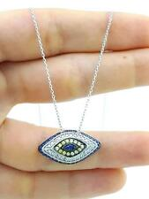 925 STERLING SILVER HANDMADE TURKISH JEWELRY EVIL EYE NECKLACE 16'' CHAIN N1395