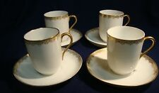 4 Antique Limoges Chocolate Cup & Saucer Sets.Charles Martin White & Gold France