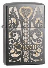 Zippo 28797, Queen, Venetian Design, Black Ice Chrome Lighter,**6 Flints/Wick***