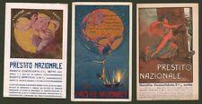 PRESTITO NAZIONALE. Tre cartoline a colori disegnate di A.Petroni.