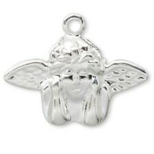 Lot of 8 Angel With Wings Drop Charms Silver Plated Over Brass Base Metal