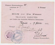 1 Franc Deutsche Besetzung in Frankreich 1915  Militär Bon WW1