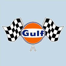 "GULF TWIN CHECKERED FLAG LOGO STICKER 100 mm 4"" WIDE DECAL - OFFICIALLY LICENSED"